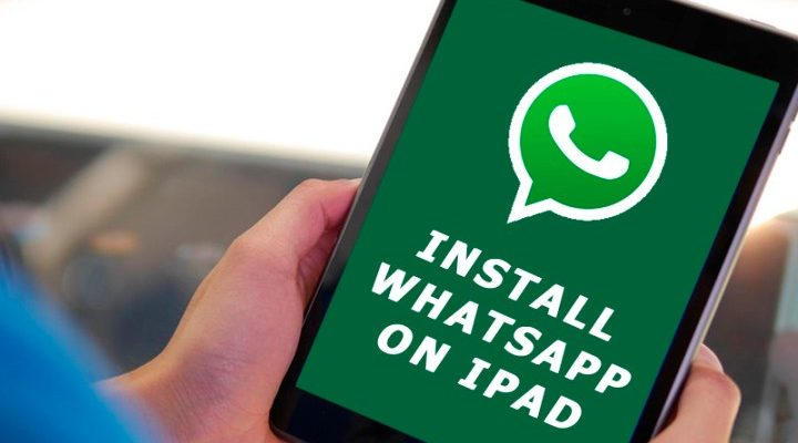 A person installing whatsapp in ipad